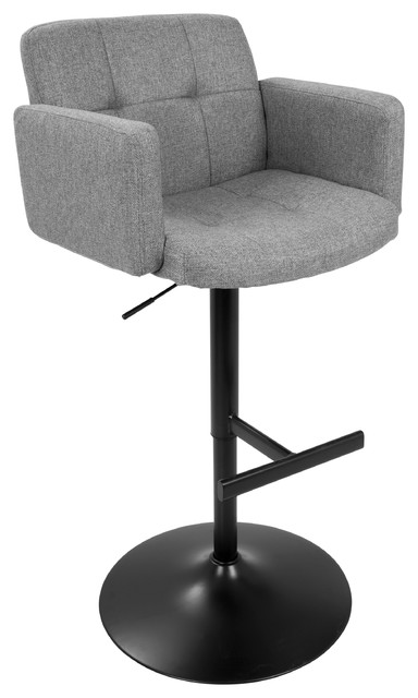LumiSource Stout Height Adj. Barstool, Black and Gray