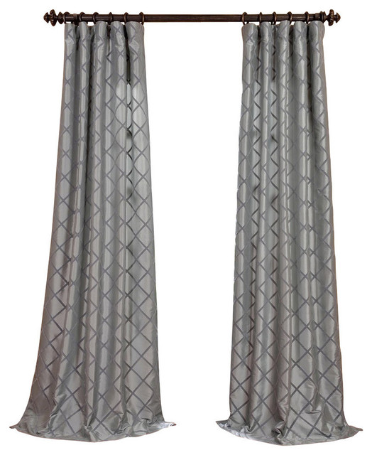 "Filigree Blue Flocked Fauxsilk Curtain Single Panel, 50""x84""."