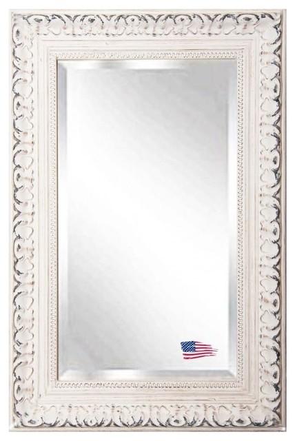"Victoria Beveled Wall Mirror, Distressed White, 23.5""x35.5"". -1"