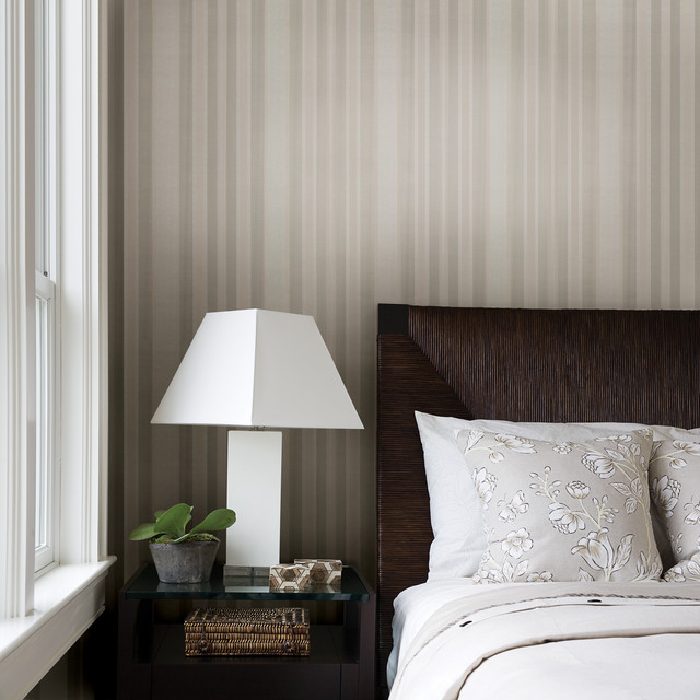 Striped Wallpaper Traditional Bedroom Other By