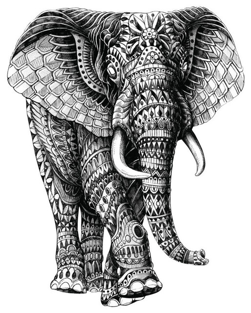Elephant Walking Wall Sticker Decal, Black and White