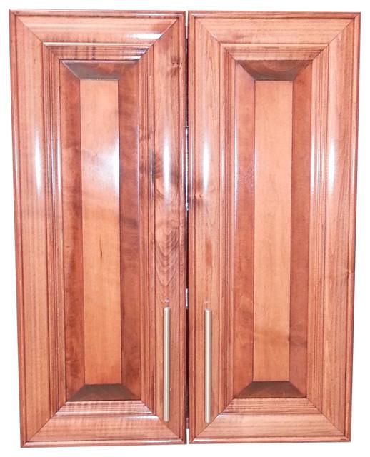 "Edison 34"" 2-Door Recessed Frameless Medicine Cabinet, 2.5""d, Dark Cherry."