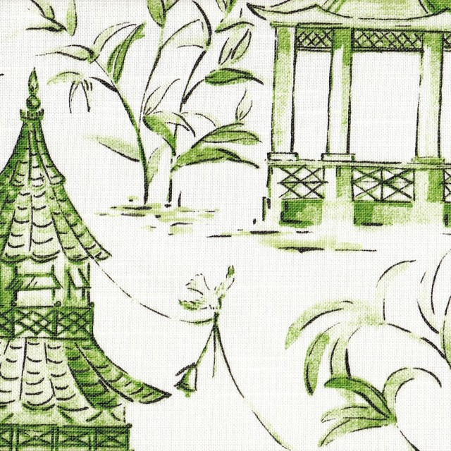 Pagodas Jade Green & Gray Oriental Toile Shower Curtain Cotton ...