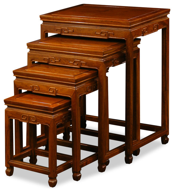 Rosewood Ming Nesting Tables, Natural Asian Side Tables And End
