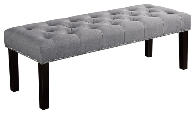 Ercole Upholstered Tufted Bench Gray 56