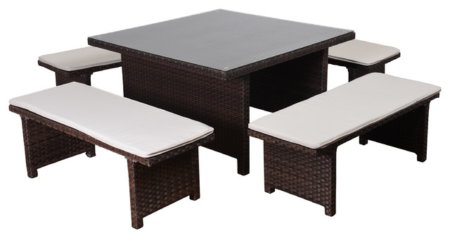 Atlantic Bellagio 5 Piece Patio Dining Set, Brown