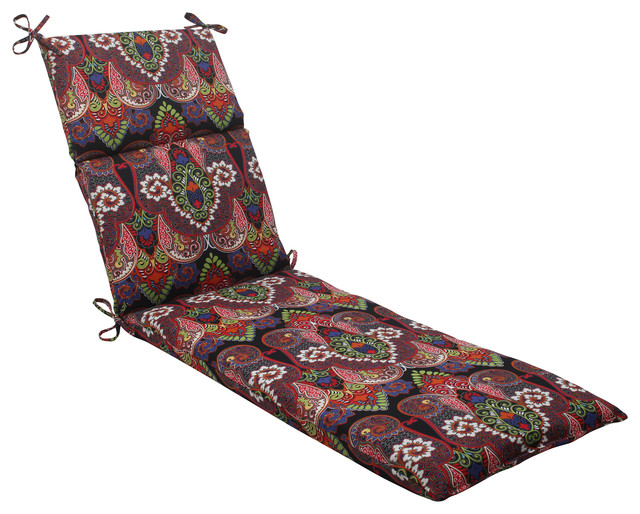 Marapi black chaise lounge cushion traditional outdoor for Black and white chaise lounge cushions