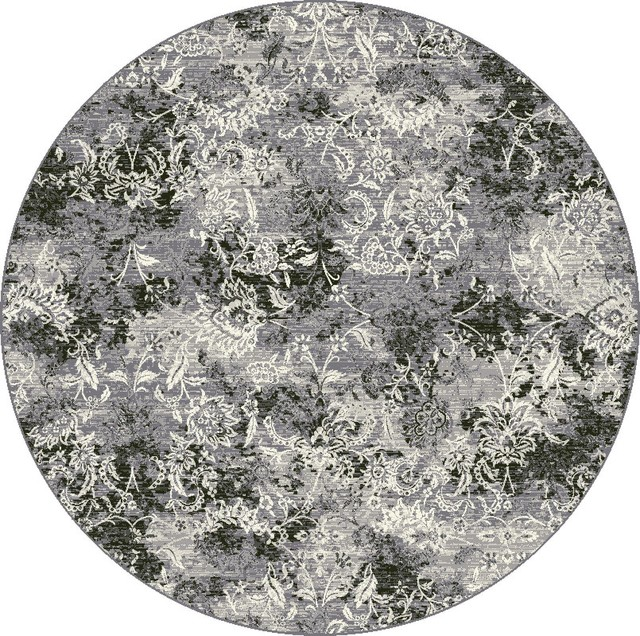 Dynamic, Rugs, Grey, Round, Designer, Line, Area Rug Area
