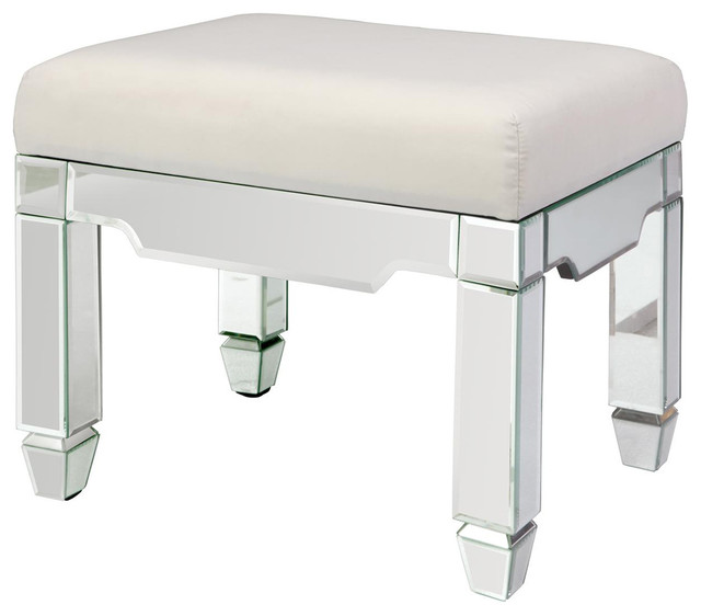 Helene Hollywood Regency Mirrored Ivory Ottoman Stool  transitional-accent-and-garden-stools - Helene Hollywood Regency Mirrored Ivory Ottoman Stool