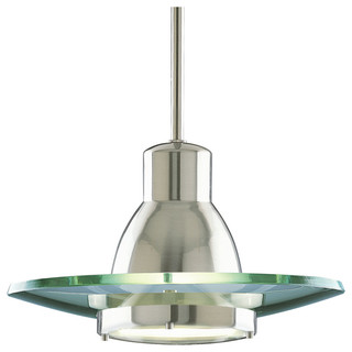 "12.25"" Stem-Hung Pendant, Brushed Nickel and Clear"