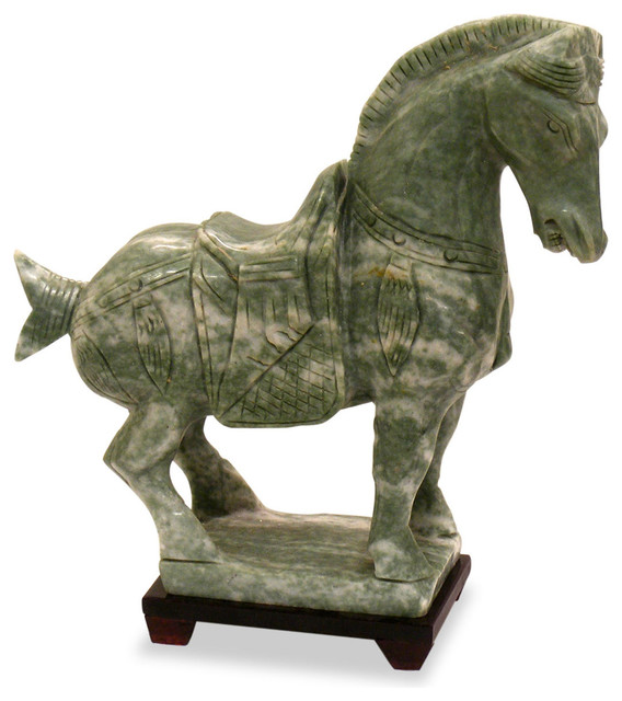 Hand Carved Jade Tang Horse Asian Decorative Objects