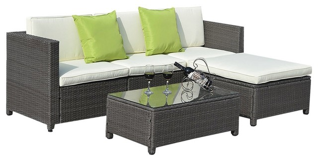 Outdoor Patio 5 Piece Furniture Sectional Pe Wicker Rattan Sofa Set Deck Couch Transitional