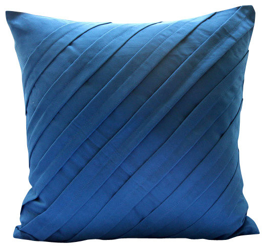 Textured Pintucks Blue Faux Suede Throw Pillow Covers 18x18, Contemporary Blue.