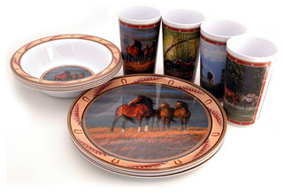 Horse 12-Piece Dish Set - Southwestern - Dinnerware Sets - by MotorHead Products  sc 1 st  Houzz & Horse 12-Piece Dish Set - Southwestern - Dinnerware Sets - by ...