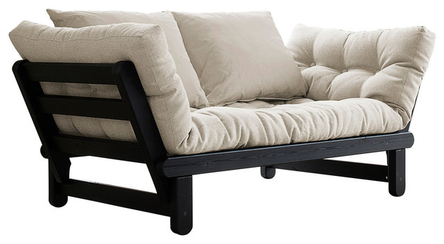 beat convertible futon sofabed black frame natural mattress futons - Futon Sofa Beds