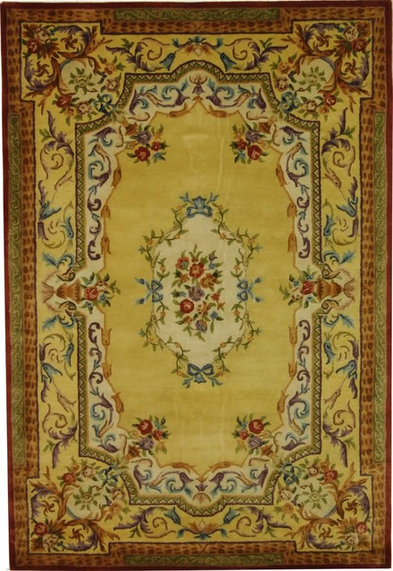 Victorian Style Gold Floral Wool Rug Victorian Area