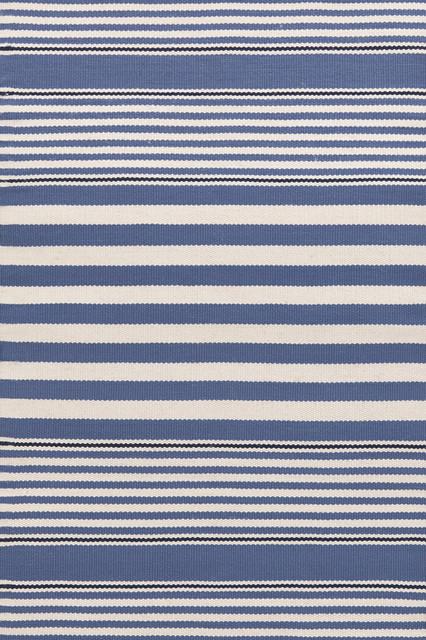 Dash And Albert Stripe Denim Indoor Or Outdoor Rug, 6&x27;x9&x27;.