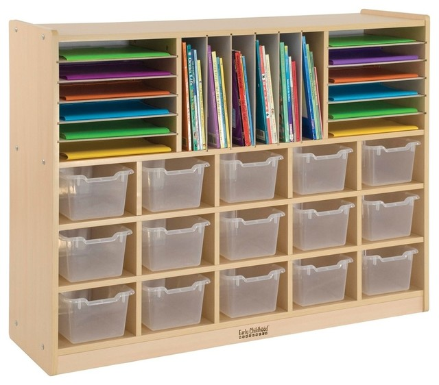 Multi Section Storage Cabinet With 15 Bins Cl