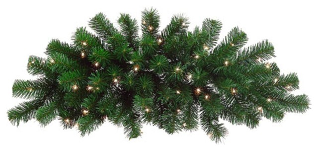 """28"""" Pre-Lit Deluxe Windsor Pine Artificial Christmas Swag, Clear Lights."""
