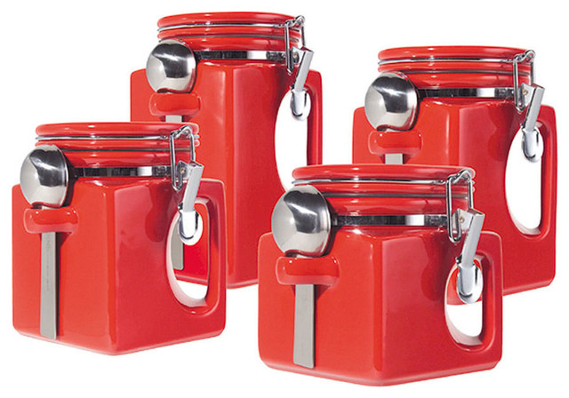 oggi kitchen canisters oggi ez grip 4 piece ceramic airtight canister set red contemporary kitchen canisters and 9850