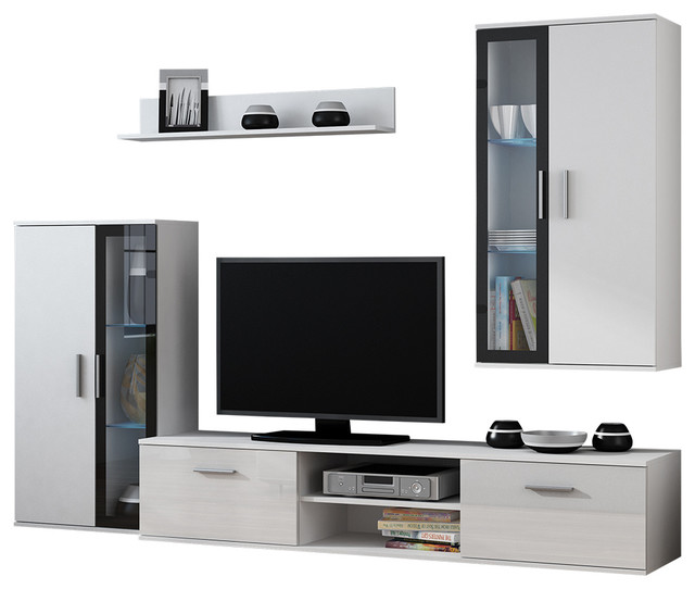 Dora 4 Piece Tv Set, White.