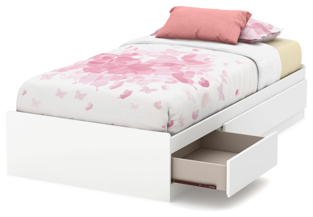 south shore callesto twin mates bed with 3 drawers pure white
