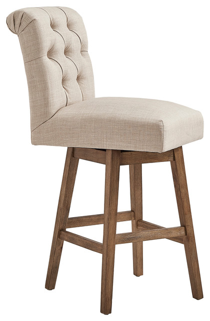 Sensational Anders Rolled Linen Upholstered Swivel Stools Set Of 2 Beige 29 Bar Ncnpc Chair Design For Home Ncnpcorg
