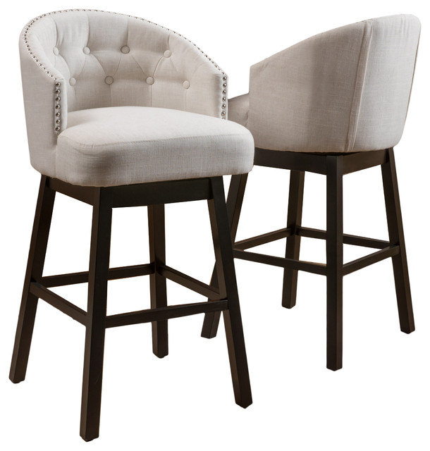 Westman Fabric Upholstered Swivel Seat Bar Stools, Set Of 2.