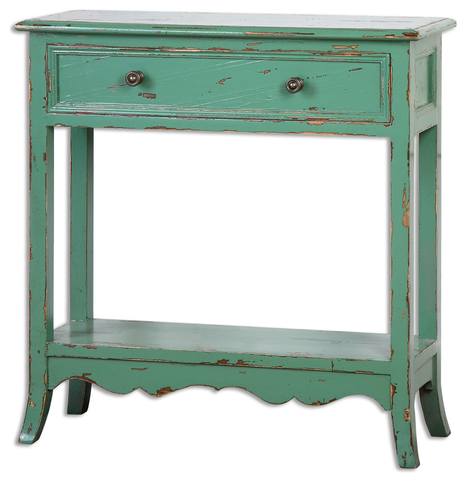 - Uttermost 24478 Celso Accent Table, Sea-Green - Farmhouse - Side