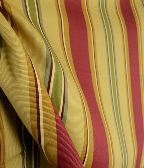 Epic Tales Ruby Waverly Stripe Gold Red Fabric - Traditional - Drapery Fabric - by The Fabric Co