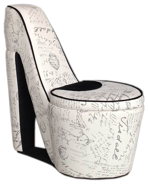 32 86 Tall Chair With Storage High Heel Shoe Design White Old World Print