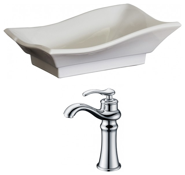 "Unique Vessel Set, White Color With Deck Mount Cupc Faucet, 20""x14""."