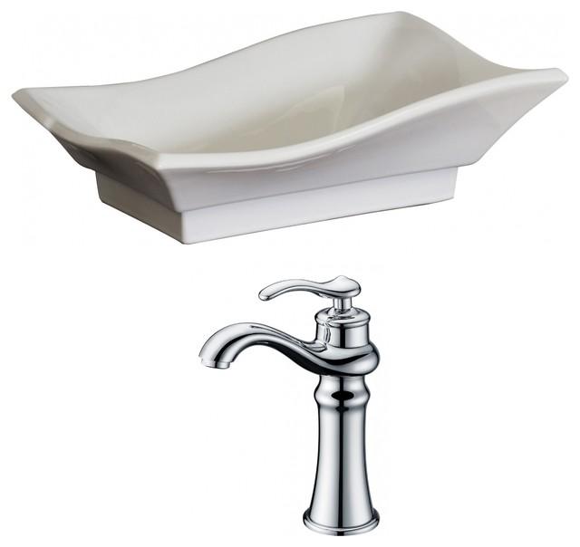Unique Vessel Set, White Color With Deck Mount Cupc Faucet, 20x14.