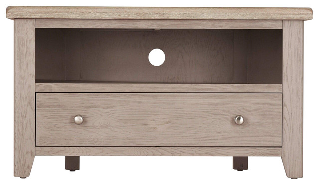 Grey Whitewash Oak Corner Television Stand With Drawer
