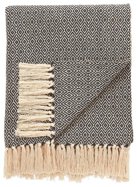Jaipur Tribal Pattern Black White Cotton Nth05 Throw.