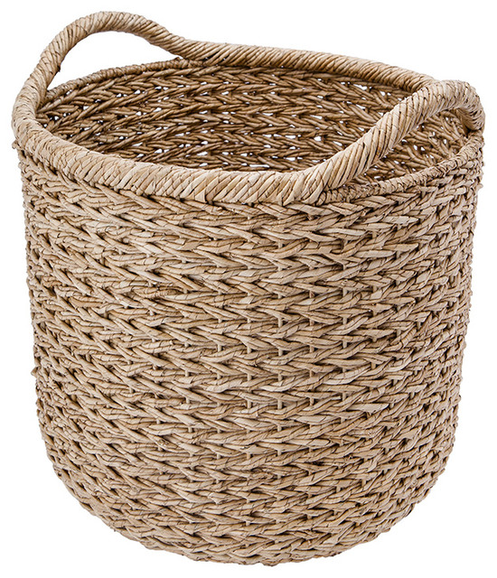 Extra Large Handwoven Decorative Storage Basket In Twisted Sea Gr