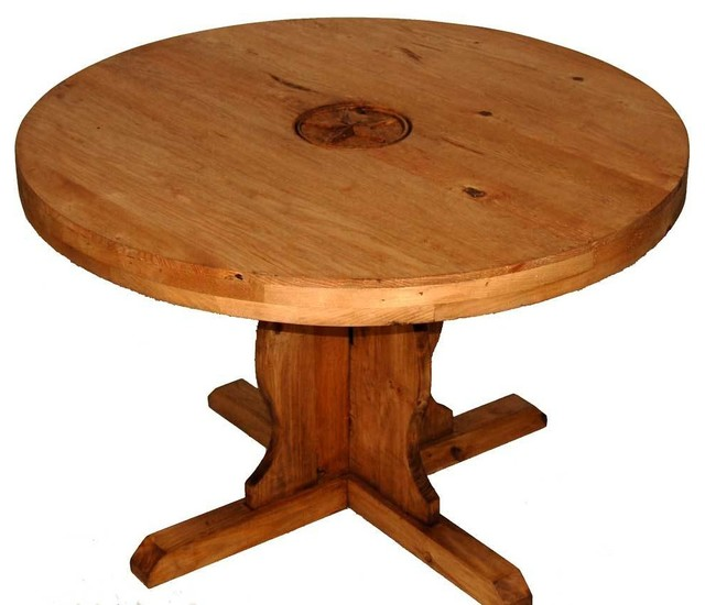 Round Table With Star Carving, Small   Rustic   Dining Tables   By ...