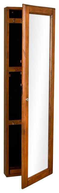 Wall Mount Jewelry Armoire Cabinet, Mirror In Oak Wood Finish.