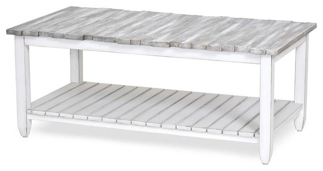 Superb Picket Fence Coffee Table Distressed Gray White Machost Co Dining Chair Design Ideas Machostcouk