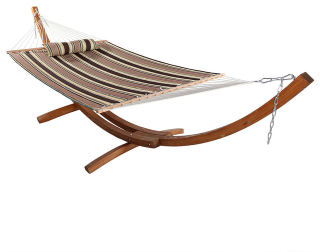 Wooden Curved Arc Hammock Stand Set Sandy Beach 12 Wood Stand