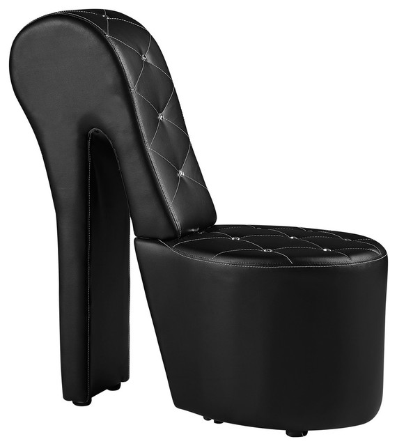 High Heel Faux Leather Crystal Studs Shoe Chair Black