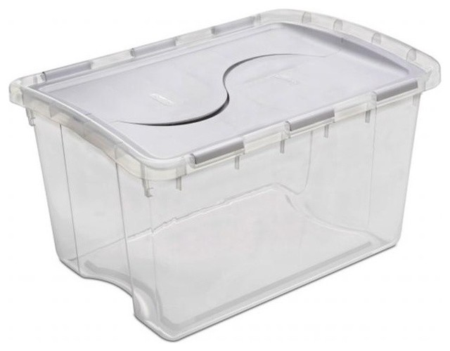 Sterilite 48 Quart Clear Hinged Lid Storage Box 19148006   Pack Of 6  Contemporary Storage