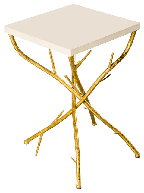maggy branch side table white and gold