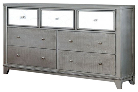 Dazzling Wooden Textured Dresser In Contemporary Style, Silver.