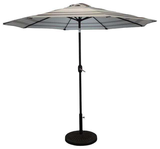 Premium Market Outdoor Patio Umbrella, Crank And Tilt, Cool Gray Stripe.