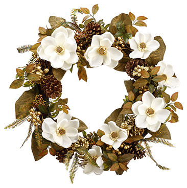 Silk Plants Direct Pine Cone, Magnolia And Berry Wreath, Set Of 3.