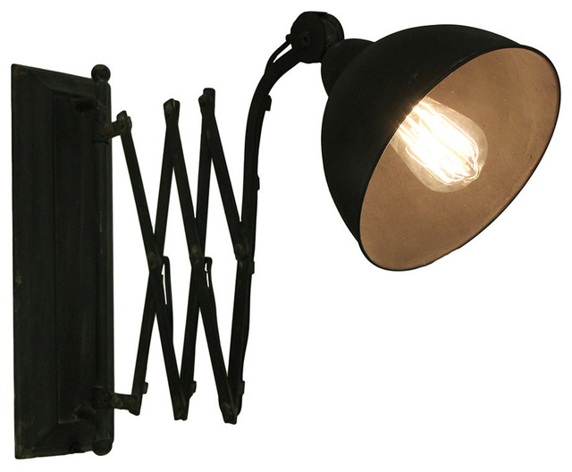 Black Vintage Finish Antique Style Pull Out Extendable Wall Light ...