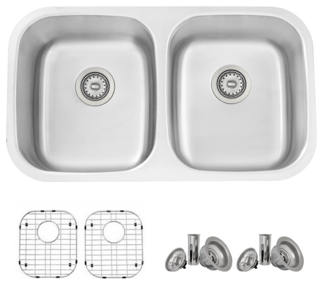 """32""""L x 19""""W Stainless Steel Double Basin Dual mount Kitchen Sink with Grids and"""