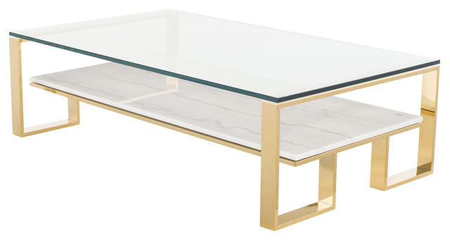 Tierra Gold Gl Top Coffee Table White
