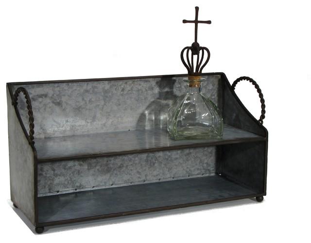 Beau 2 Tier Galvanized Tin Tabletop Or Wall Shelf